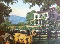 Currier and Ives calendar print, The Old Homestead, from May 1960. Would look great hanging in a living room!
