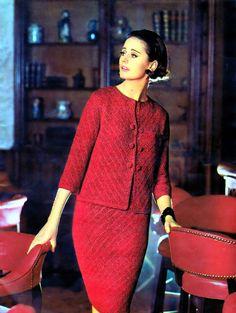 Fifties Fashion, Vintage Fashion, Ladies Fashion, Chanel, Knit Dress, Peplum Dress, Vintage Dresses, Vintage Outfits, Floor Length Dresses