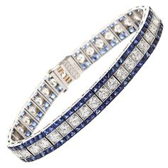 OSCAR HEYMAN Diamond and sapphire art deco bracelet | From a unique collection of vintage tennis bracelets at http://www.1stdibs.com/jewelry/bracelets/tennis-bracelets/