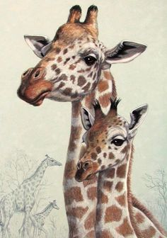 Giraffes bady mother ACEO print from original pastel by Joy Campbell | eBay