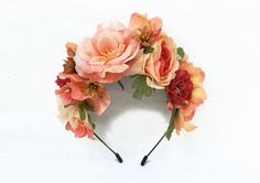 Coral Peach Floral Crown, Fiesta, Frida Kahlo Flower Crown, Flower Headband, Flower Headpiece, Bridal Headpiece, Floral Crowns, Spanish,