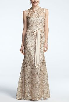 Brides: David's Bridal. Sleeveless long sequined lace dress.See More David's Bridal Mothers Dresses