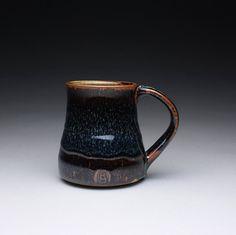 coffee mug teacup cup with brown black tenmoku by rmoralespottery,