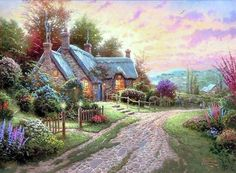 Thomas Kinkade A Peaceful Time painting for sale - Thomas Kinkade A Peaceful Time is handmade art reproduction; You can buy Thomas Kinkade A Peaceful Time painting on canvas or frame. Thomas Kinkade Art, Kinkade Paintings, Oil Paintings, Thomas Kincaid, Art Thomas, Cottage Art, Cottage House, Time Painting, Light Painting
