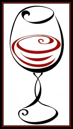 Wine glass Vector/Clipart __[galleryhip.com] (Remix↳₥¢↰) #BandW & #cRed