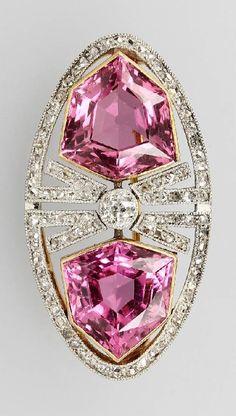 Koch-Diamond and pink tourmaline brooch, c1910