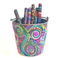 Pen Pot with 6 pens polymer clay design PP51. $50.00, via Etsy.