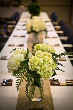 Flowers, White, Pink, Brown, Gold, Silver, Centerpieces, Hydrangeas