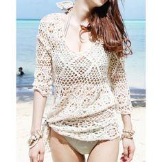 Cute Scoop Neck Openwork 1/2 Length Sleeve Smock For Women, OFF-WHITE, ONE SIZE in Swimwear | DressLily.com