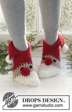 """Crochet DROPS Christmas slippers in """"Eskimo"""". Sizes for children and adult."""