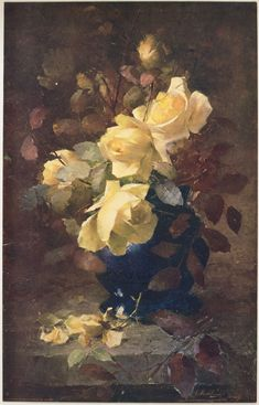 Roses by Frans Mortelmans 1900 (43.1 x 27.5 cm) Color photo mechanical reproduction Philadelphia Museum of Art  This work has an interesting balance of light and dark, where the mellow tones of yellow and brown are in the light, yet the right side of the painting is in shadow. The image realistically sits on concrete, and the cracked lines help define the setting.