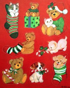 AGC Christmas friends stickers Christmas Puppy, Christmas Animals, Christmas Holidays, Christmas Crafts, Christmas Classics, Christmas Ideas, Kittens And Puppies, Holly Hobbie, Love Stickers