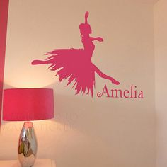 The girl dancing ballet Custom name new products for 2013 stickers child mural wallpaper 45*60CM Free shipping $9.86