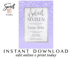 Sweet 16 Invitation | Sweet sixteen invitation | Purple Glitter 16th Birthday invite | Lilac Sweet 16 invitation | Instant Download Sweet 16 Quince Invitations, Sweet Sixteen Invitations, Birthday Invitations, Candy Bar Labels, Rose Gold Glitter, 16th Birthday, Bottle Labels, Favor Tags, Quinceanera