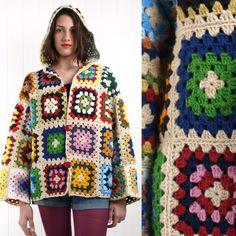 Vintage 70s WOOL CROCHET granny square HOODED jacket COAT cardigan M L | eBay