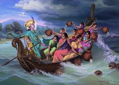 boat pastime on Manasi ganga Art Print by NOVIKOV Viacheslav. All prints are professionally printed, packaged, and shipped within 3 - 4 business days. Choose from multiple sizes and hundreds of frame and mat options. Radha Krishna Images, Lord Krishna Images, Radha Krishna Photo, Krishna Photos, Krishna Art, Radhe Krishna, Krishna Pictures, Shree Krishna, Krishna Lila