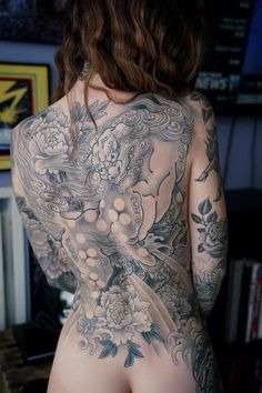 Geisha Tattoos, Dragon Tattoo Back Piece, Dragon Sleeve Tattoos, Chris Garver, Tattoo Samples, Japanese Dragon Tattoos, Yakuza Tattoo, Little Tattoos, Hot Tattoos