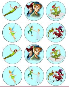 PETER PAN Edible Cupcake Toppers by ChrisCakeArt on Etsy