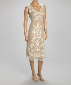 Love this Taupe & Ivory Embroidered Lace Dress on #zulily! #zulilyfinds