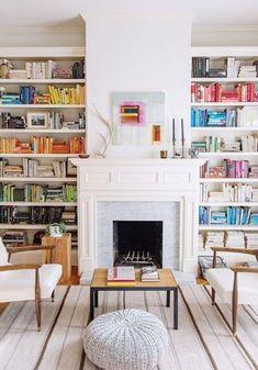 Rainbow bookshelf.