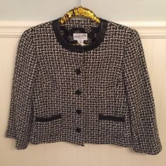"""Pendleton Silk Blend Jacket Faux Leather Trim 8/MP  Pendelton   Faux leather trim, silk blend jacket.    Size 8P / PM   95% Silk / 5% Rayon   Excellent used condition!    Black & White    Bust - 18.75"""" across the front, lying flat, buttoned.   Length - 21"""" from shoulder to hem.   ✳️ Bundle to Save 20%!  ❌ No Trades, Holds, PP   100% Authentic!    Suggested User // 700+ Sales // Fast Shipper // Best in Gifts Party Host! Pendleton Jackets & Coats"""