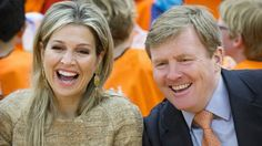 King Willem Alexander and Queen Maxima attend the opening of the King's Games 2015 (Koningsspelen 2015) in Leiden. (The Koningsspelen is a nationwide sport day for schools. The day begins with breakfast together, then there is workout performed by the students.)