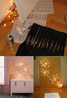 Constellation art with string lights and a canvas | DIY