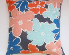 Hand painted floral pillow cover by kolorena on Etsy Watercolor Design, Abstract Watercolor, Shades Of Burgundy, Sewing Pillows, Floral Pillows, Paint Designs, Original Artwork, Pillow Covers, Hand Painted