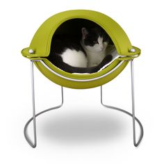 Hepper Cat Bed Green- The Pod Cat Bed offers the security of a mountaintop cave with way more style. It serves as your pet's own personal sanctuary - a perfect place for curling up to snooze, hide, or reign supreme.