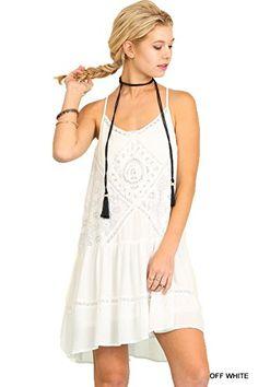 UMGEE USA Boho Chic Sleeveless Dress with Lace Details (Medium, Off White) | Bohemian | Amazon Reviews | Gift Ideas | Women's Fashion