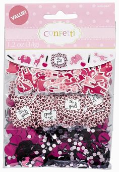 Sprinkle our Sweet Safari Girl Confetti on your baby shower tables for a quick, easy and colorful decoration!  Mix and match the three different designs!  Included:One packet contains �It�s a Girl!� confetti with pink leopard print border.One packet contains the adorable momma giraffe and elephant characters of the Sweet Safari Girl theme.One packet is a mix of small magenta and pink circle and black strip confetti.The three packets together contain a total of 1.2 ounces of confetti.