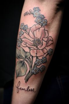 Kirsten Holliday rose and forget-me-nots tattoo