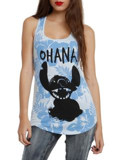 """Light blue racer back tank top with floral Stitch design that reads """"Ohana."""""""