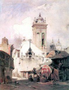 chasingtailfeathers:    Eduard Hildebrandt (German 1818 - 1868)  Rio de Janeiro  Watercolor and gouache