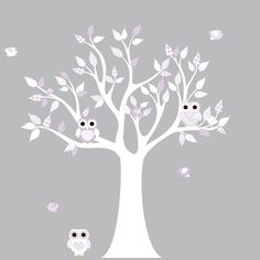 Vinyl Wall Decal Stickers White Lilac Owl Tree Set Nursery Girls Baby.