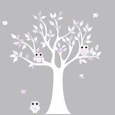 Vinyl Wall Decal Stickers White Lilac Owl Tree Set Nursery Girls Baby.