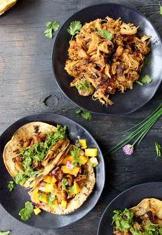 Tacos de Carnitas with Chive Pesto & Mango Salsa ( Carnitas Tacos Recipe ) | CiaoFlorentina.com @CiaoFlorentina