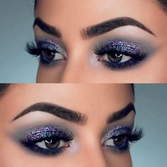 Glitter eye makeup is all the rage this season. Combine it with various accents for a truly festive image. Get your inspo here. #makeup #makeuplover #makeupjunkie #eyemakeup