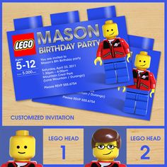 LEGO Birthday Invitation Invites CUSTOM Lego Party Invitations Create