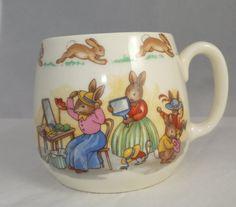 Royal Doulton Bunnykins Mug - Vintage Childs Cup, collectible bone china childrens dishware, Rabbits Dressing for Church