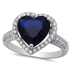 Sterling Silver Blue Sapphire Heart Ring with Cubic Zirconias Size-8, Simulated >>> Details can be found by clicking on the image.