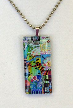 Flower Frenzy Colorful Funky Glass Pendant with by BethNadlerArt, $16.00