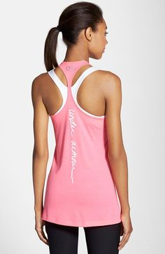 Under Armour | 'Power in Pink - Support' Tank | Cerise | A message of support and a pink ribbon offer meaningful motivation in this ultra-lightweight scoop-neck tank designed with a skinny racerback and flared fit for an enhanced range of motion.