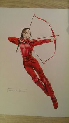 My Drawing of Katniss Everdeen in the red Mockingjay Costume ^-^