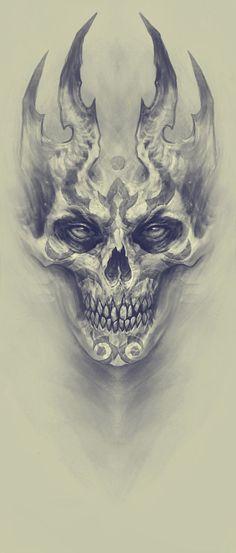 Demon, Kazimirov Dmitriy - Beautiful Skull More - . - Demon, Kazimirov Dmitriy – Beautiful Skull More – - Skull Tattoo Design, Skull Design, Skull Tattoos, Body Art Tattoos, Tattoo Drawings, Tattoo Designs, Skull Drawings, Evil Skull Tattoo, Demon Drawings
