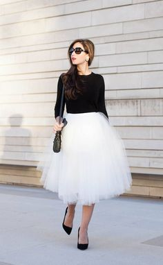 White Tulle Skirt And Black Long Sleeve Top