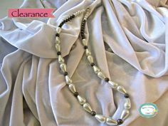 """SAVE 10% use coupon code PIN10 CLEARANCE marked down from $25. #Handmade Beautiful white teardrop and round glass pearl #necklace with antique brass open weave metal #beads, 21"""".  For faster shipping call f... #jewelry #neckalce #jewelry #jewellery #handmade #handcrafted #beadwork #beading #clearance"""