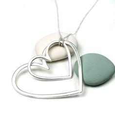 Silver Plated Matt Big Double Heart Long Necklace | eBay