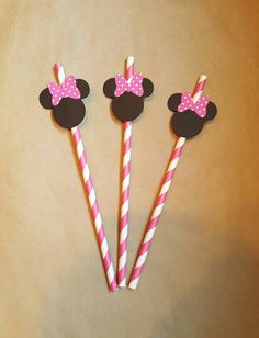 Minnie mouse themed straws12 pack por FifteenSixteen en Etsy