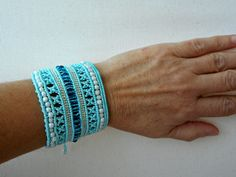 Wide macrame bracelet, Micro macrame jewelry, One of a kind, Gift for women - pinned by pin4etsy.com